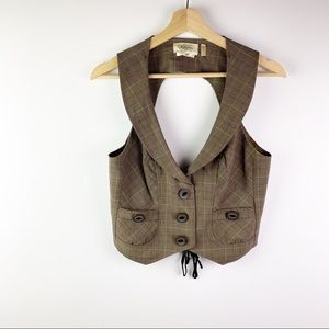 Guess plaid vest steampunk/ school girl inspired L